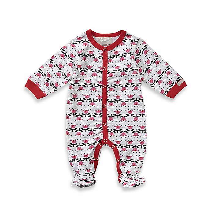 0dd68aa532cb Coccoli Cranberry & Almond Button Down Footie in Pink | Bed Bath ...