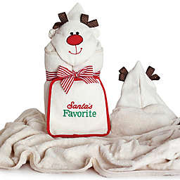"Silly Phillie® ""Santa's Favorite"" Reindeer Hooded Towel and Washcloth Set"