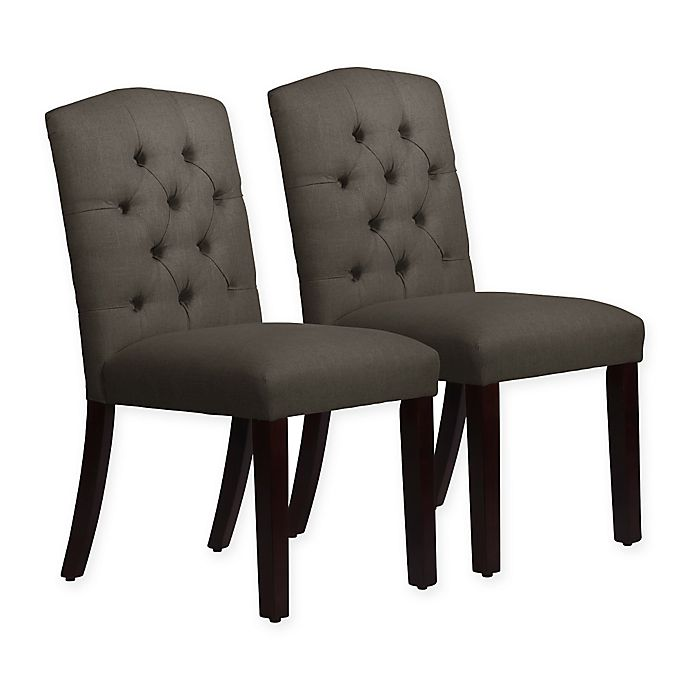 Alternate image 1 for Skyline Furniture Denise Arched Dining Chairs in Linen Slate (Set of 2)