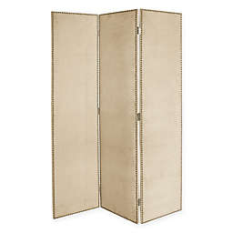 Skyline Furniture Keyport 3-Panel Velvet Screen with Nail Buttons