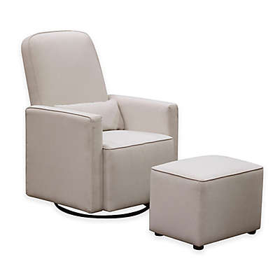DaVinci Olive Upholstered Swivel Glider with Ottoman in Cream