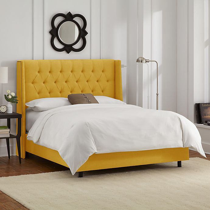 Alternate image 1 for Abbie Wingback Full Bed in Linen French Yellow