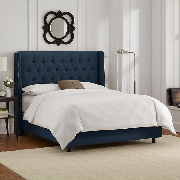 Alternate image 1 for Abbie Wingback California King Bed in Linen Navy