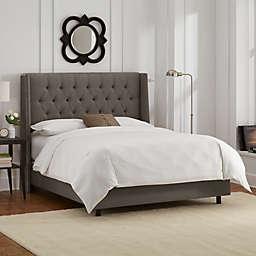 Skyline Furniture Abbie Wingback Queen Bed in Slate