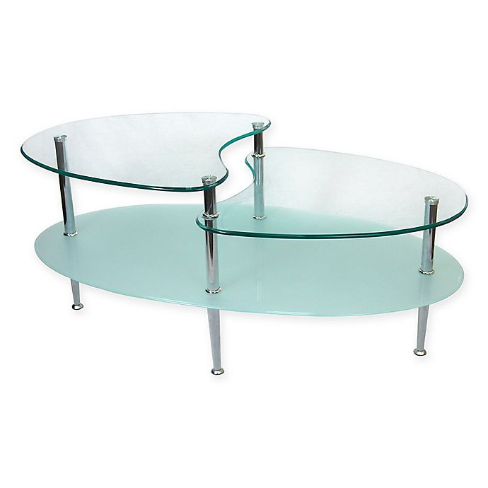 Alternate image 1 for Forest Gate Modern Glass Oval Coffee Table in Silver