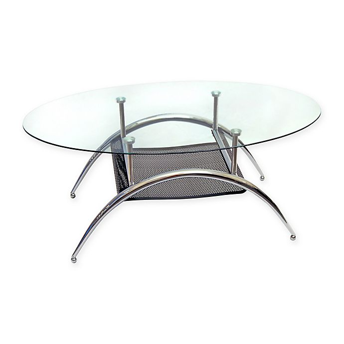 Buy Glass Oval Coffee Table With Metal Shelf From Bed Bath