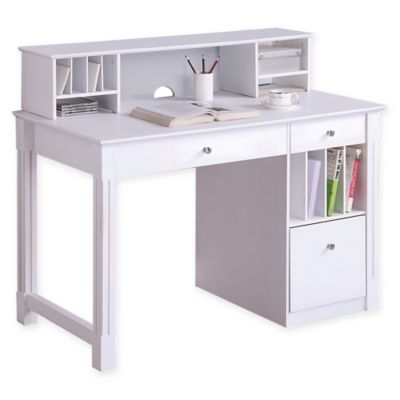Forest Gate Sophia Modern Home Office Computer Desk with Hutch in White