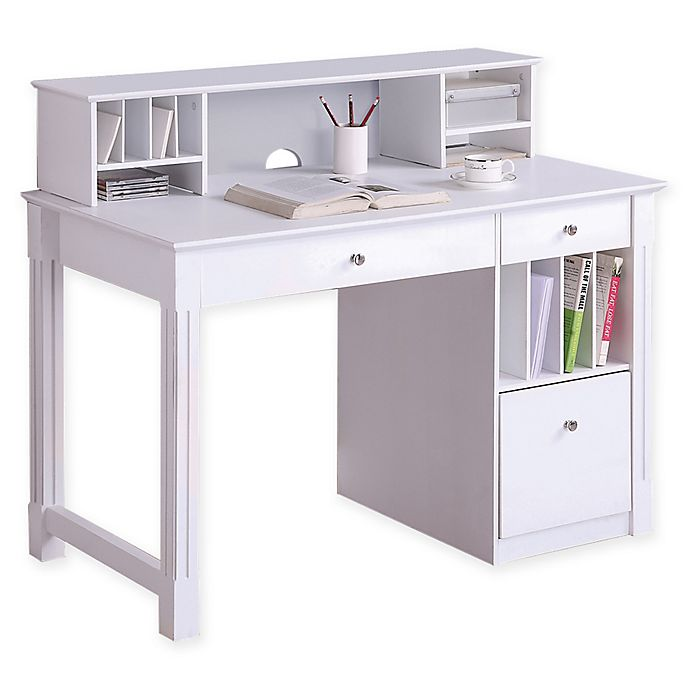 Alternate Image 1 For Forest Gate Sophia Modern Home Office Computer Desk With Hutch In White