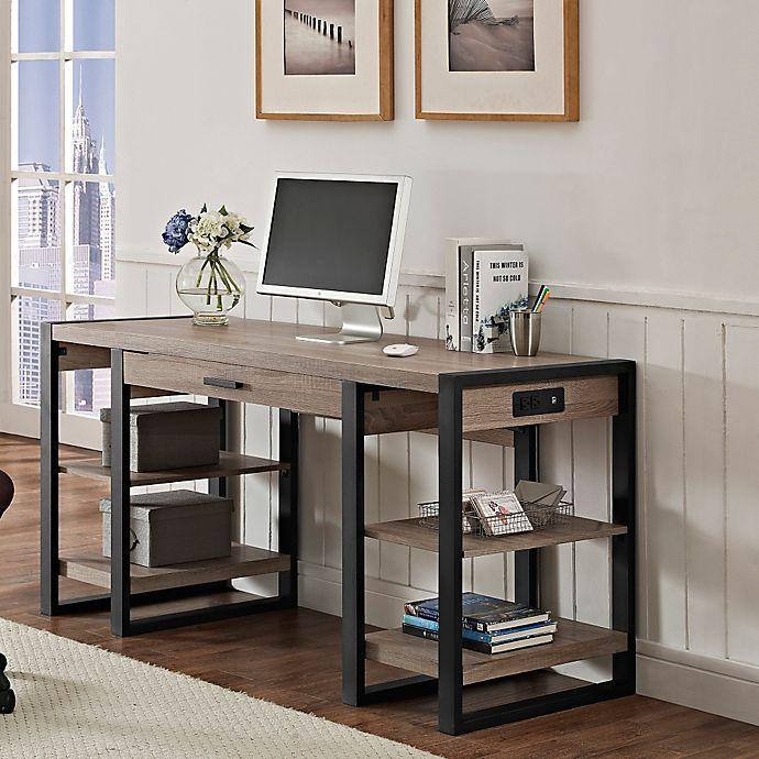 Alternate image 1 for Forest Gate Storage Desk in Driftwood/Black