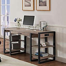 Forest Gate Storage Desk in Driftwood/Black