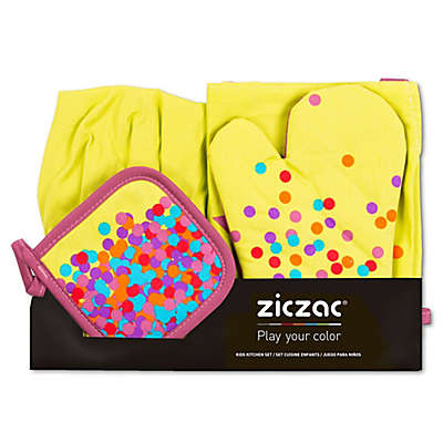 Ziczac Kid's 4-Piece Confetti Apron Set in Lime