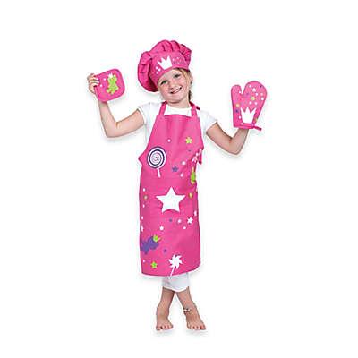 Ziczac Kid's 4-Piece Crown Apron Set in Pink
