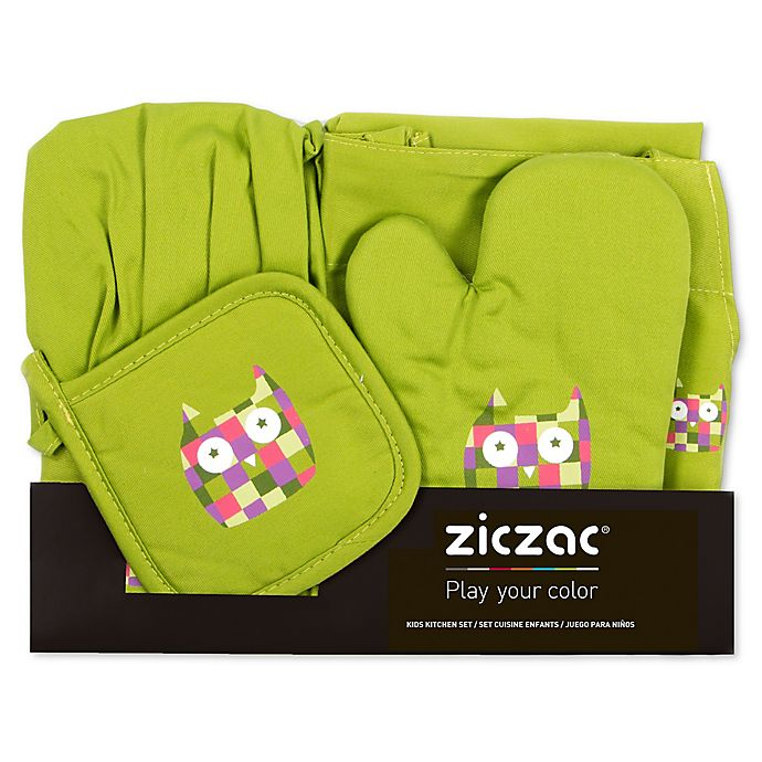 Alternate image 1 for Ziczac Kid's 4-Piece Owl Apron Set in Green