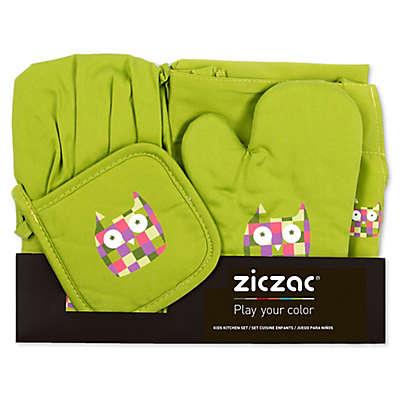 Ziczac Kid's 4-Piece Owl Apron Set in Green