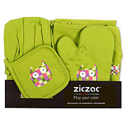 Ziczac Kid's 4-Piece Owl Apron Set in Green