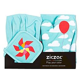 Ziczac Kid's 4-Piece Clouds Apron Set in Aqua