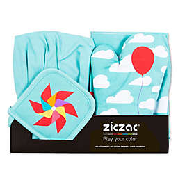 Ziczac Kid's 4-Piece Clouds Apron Set in Aqua
