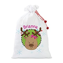 Girl Reindeer Santa Sack in Red