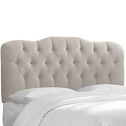 Skyline Furniture Cranford Velvet Full Headboard in Light Grey