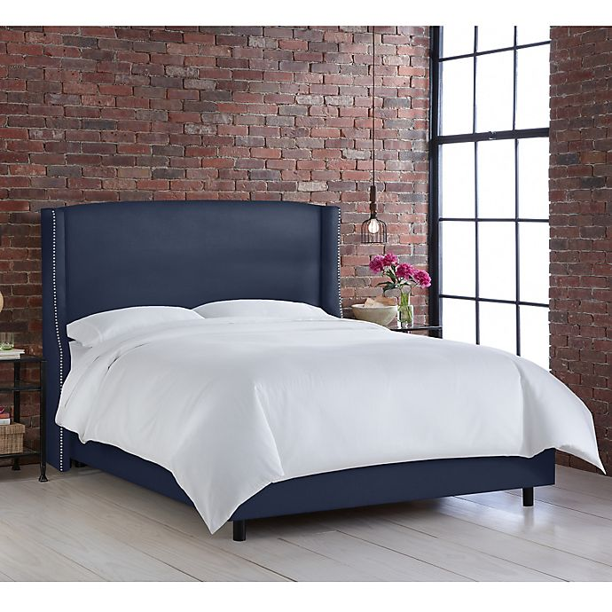 Alternate image 1 for Geneva Wingback Queen Bed in Linen Navy