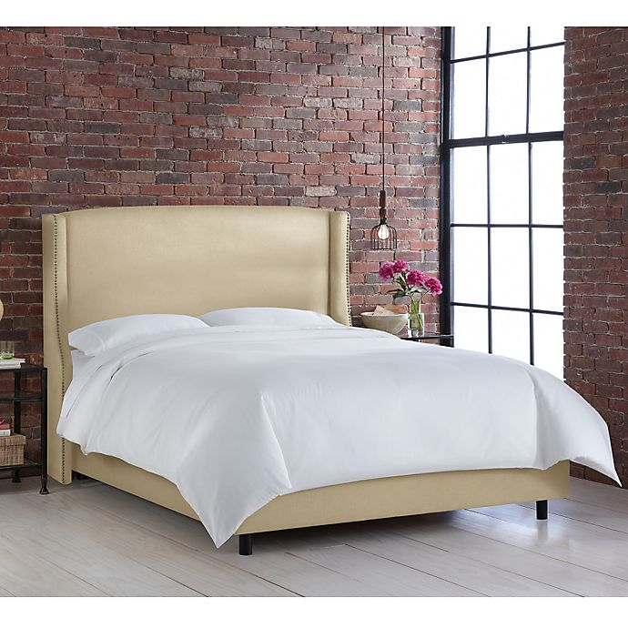 Alternate image 1 for Geneva Wingback King Bed in Linen Sandstone