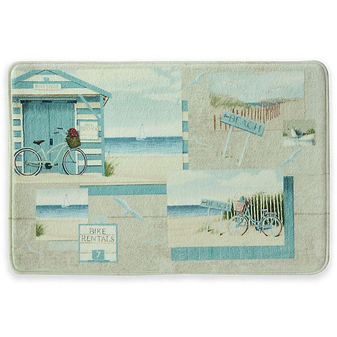 Alternate image 1 for Bacova Beach Cruiser 20-Inch x 30-Inch Bath Rug in Blue/Ivory