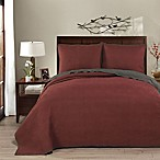 Brielle Honeycomb Reversible King Quilt Set in Red/Grey