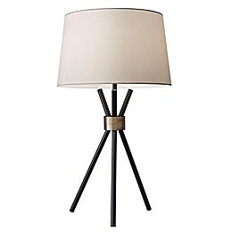Adesso® Benson Table Lamp in Black with Modified Drum Shade