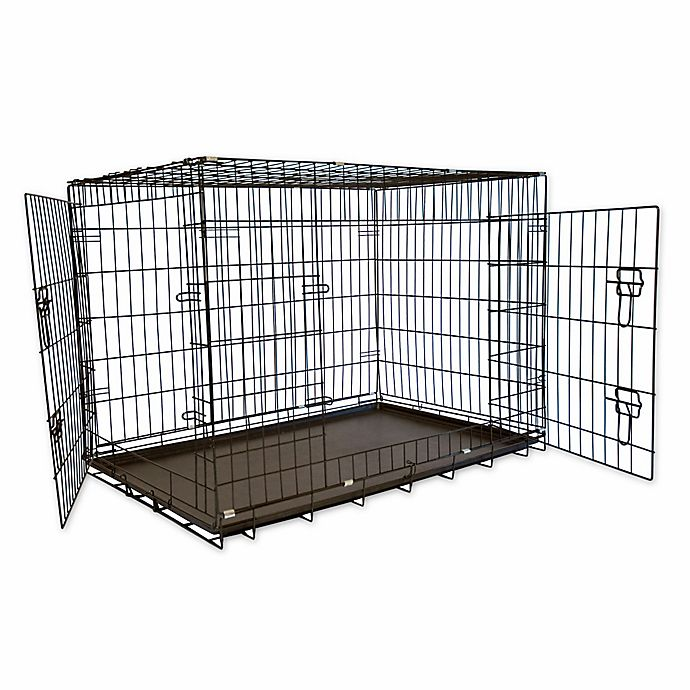 Alternate image 1 for 42-Inch Foldable Double Door Pet Crate with Divider