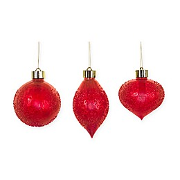 LED Textured Ornaments with Remote in Red (Set of 12)
