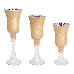 Snowflake Candle Holders in Gold (Set of 3)