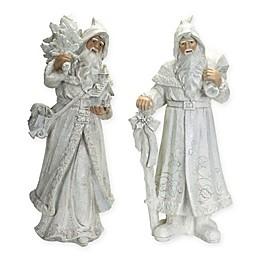 Winter Santa Figurine in White (Set of 2)