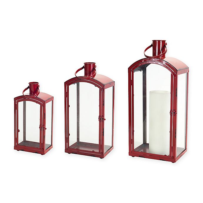 Christmas Lanterns.Metal And Glass Christmas Lanterns In Red Set Of 3 Bed