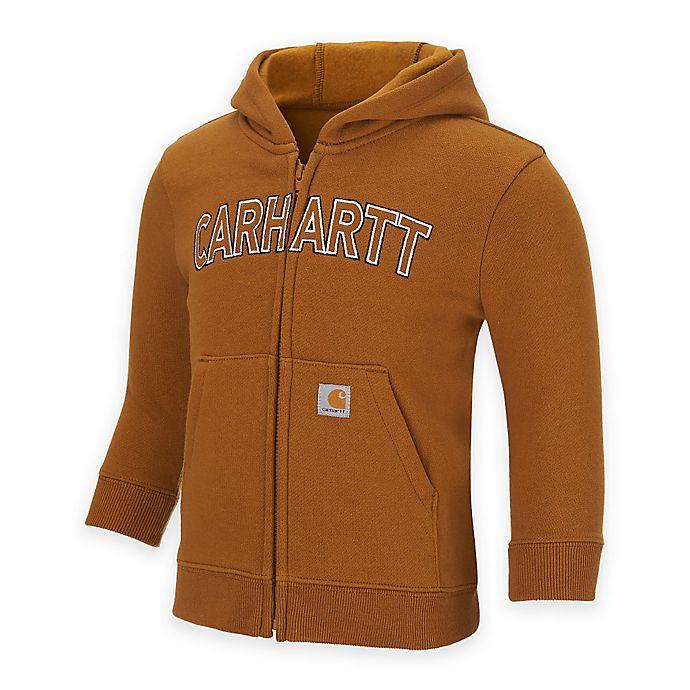 Alternate image 1 for Carhartt® Logo Fleece Zip-Front Hoodie in Brown