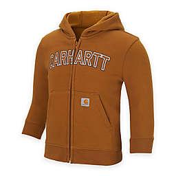 Carhartt® Logo Fleece Zip-Front Hoodie in Brown