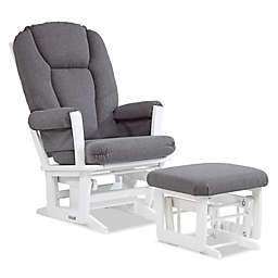 Dutailier Reg Modern Glider And Ottoman In White Charcoal