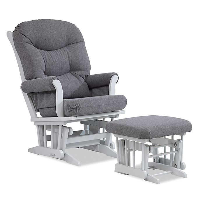 Dutailier Multiposition Reclining Sleigh Glider And Ottoman In Grey Charcoal Buybuy Baby