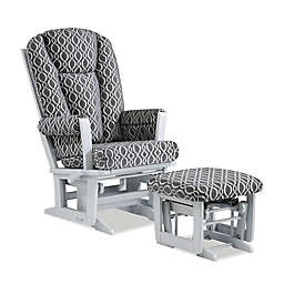 Dutailier® Modern Multi-Position Reclining Glider and Ottoman in Grey/Charcoal