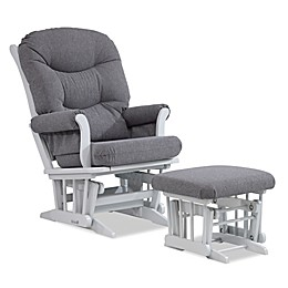 Dutailier® Multi-Position Reclining Sleigh Glider and Nursing Ottoman in Grey/Charcoal