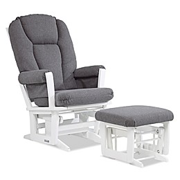 Dutailier® Modern Multi-Position Reclining Glider and Nursing Ottoman in White/Charcoal