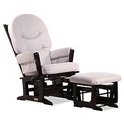 Dutailier® Modern Multi-Position Reclining Glider and Nursing Ottoman in Espresso/Sand