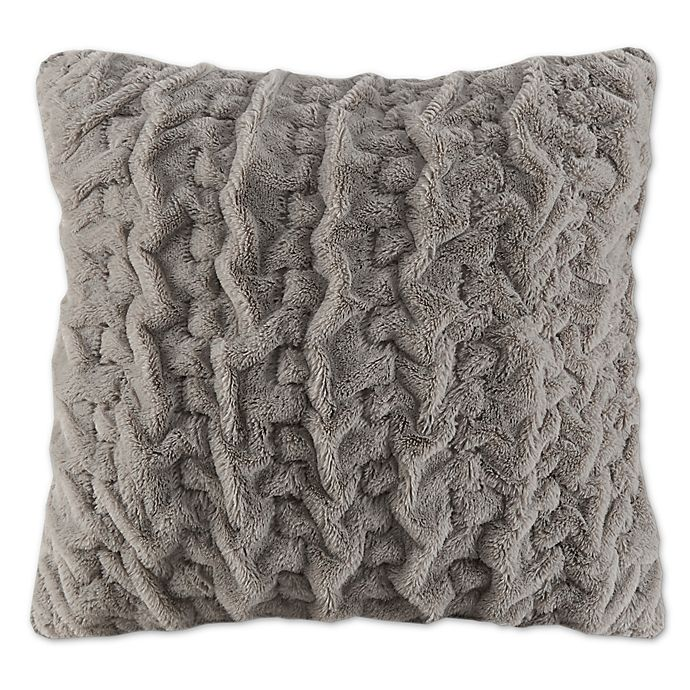 Alternate image 1 for Madison Park Ruched Stripe Fur 25-Inch Square Throw Pillow