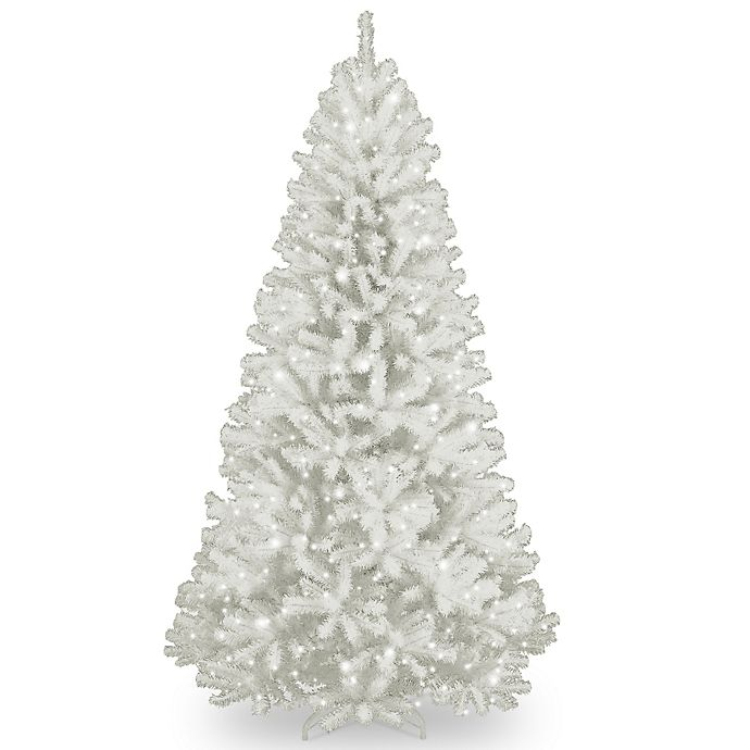 Alternate image 1 for National Tree 7-Foot North Valley White Spruce Hinged Tree with Glitter and Clear Lights