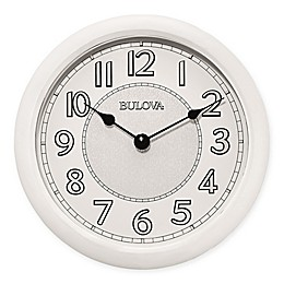 Bulova 8-Inch Quartz Analog with Bluetooth Technology Wall Clock in White