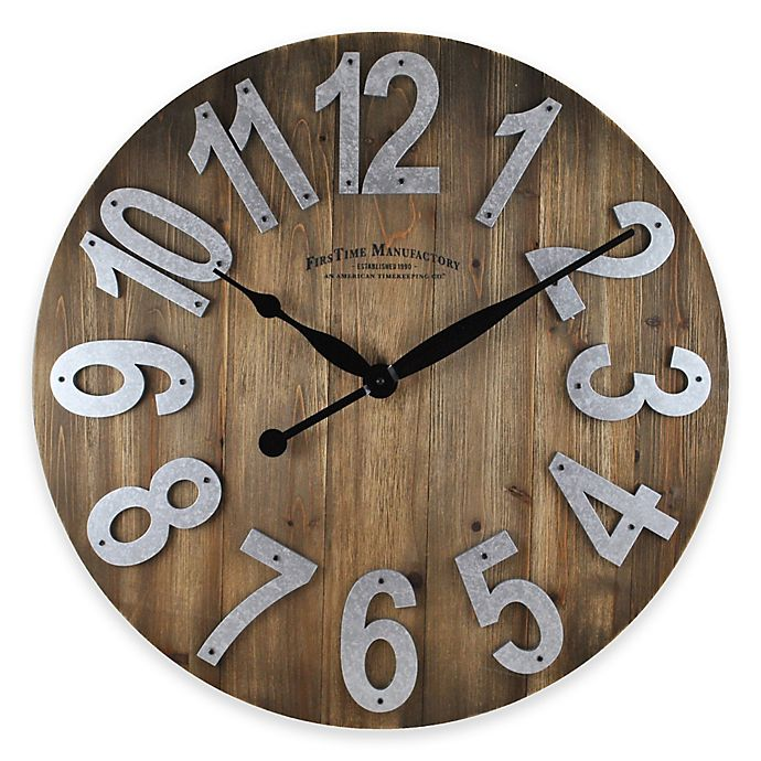 Alternate image 1 for FirsTime® 22.5-Inch Slat Wall Clock in Wood