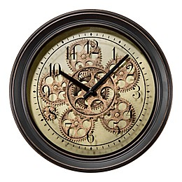 La Crosse Technology Metal Wall Clock with Moving Gears in Black