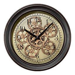 La Crosse Technology Metal Wall Clock with Moving Gears in Black