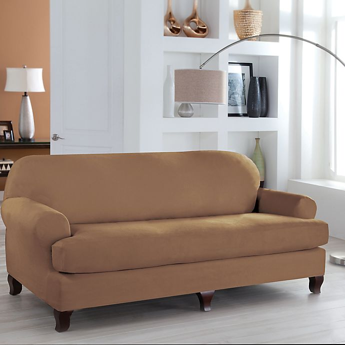 Perfect Fit® Stretch Fit Microsuede 2-Piece T-Cushion Sofa ...