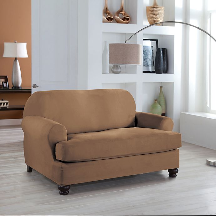 Alternate image 1 for Perfect Fit® Stretch Fit Microsuede 2-Piece T-Cushion Loveseat Slipcover
