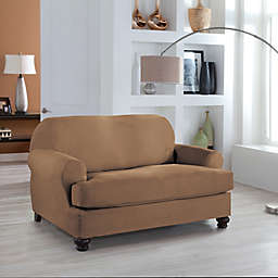 Perfect Fit® Stretch Fit Microsuede 2-Piece T-Cushion Loveseat Slipcover